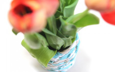 recycled fabric vase