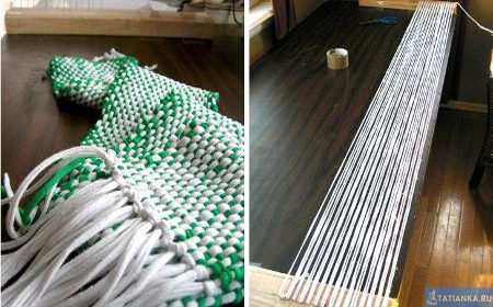 Homemade loom for T-Shirt yarn