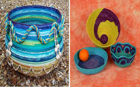 Variations in fabric and rope baskets