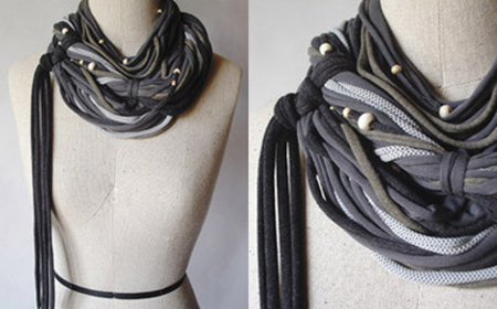 DIY models of recycled fabric necklaces