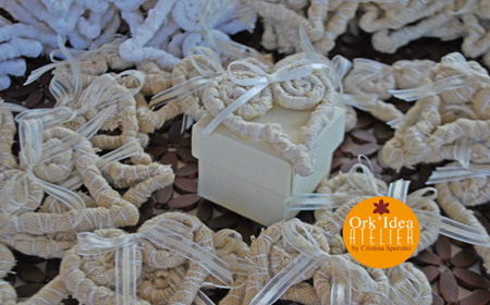 Recycled fabric wedding souvenirs