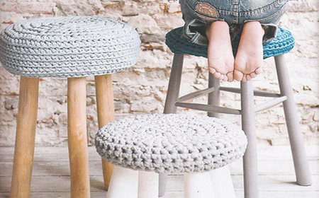 Restored stools with recycled fabric