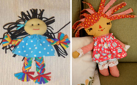 Recycled fabric dolls